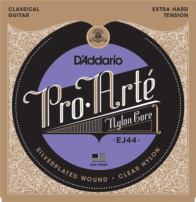 D'Addario EJ44 Pro Arte Nylon Core Silverplated Wound Extra Hard Tension Clear Nylon Classical Guitar Strings