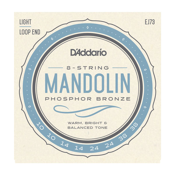 D'Addario EJ73 Phosphor Bronze 10-38 Light Gauge Loop End Mandolin Strings