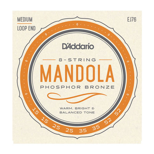 D'Addario EJ76 Phosphor Bronze 15-52 Medium Gauge Loop End Mandola Strings