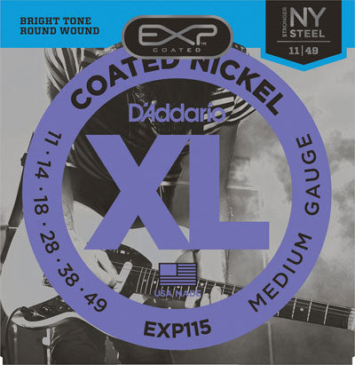 D'Addario EXP115 Coated Nickel 11-49 Medium Gauge Electric Guitar Strings