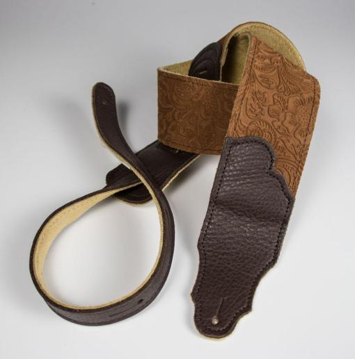 Franklin FSSE-CA-CH 2'5' Caramel Embossed Suede Chocolate End Tab Guitar Strap