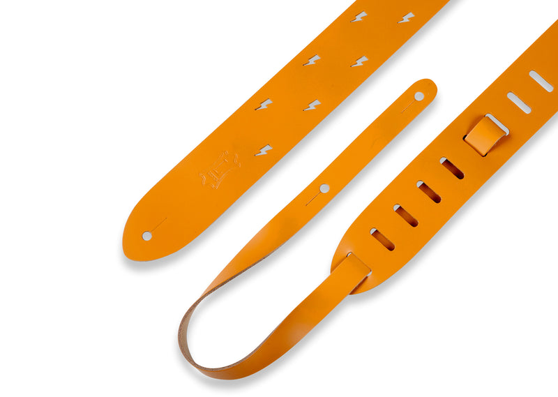 "Levy's M12LBC-TAN 2"" Chrome-tan Leather Guitar Strap With Lightning Bolt Punch Out Pattern"