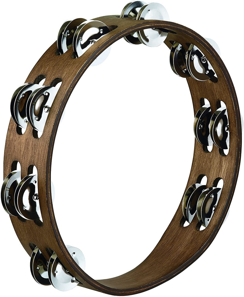 Meinl Percussion TA2WB Traditional Wood Double Row 10-Inch Tambourine - Walnut Brown Finish