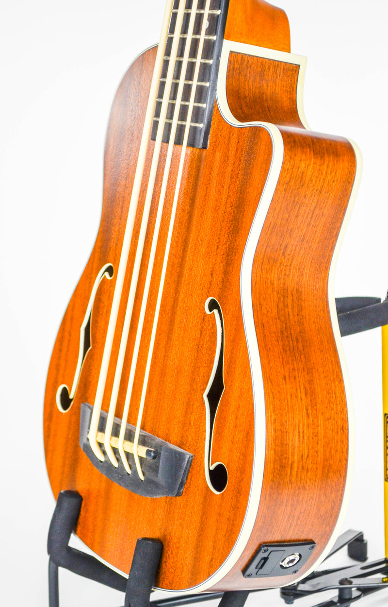 Kala U-Bass-JYMN-FS Journeyman Acoustic Electric U•BASS® w/ F-Holes SPECS SIZE: Acoustic-Electric U•BASS® TOP: Mahogany BACK & SIDES: Mahogany