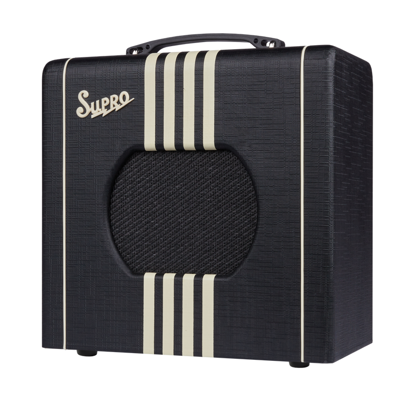 Supro 1818BC_US Delta King 8 Black with Creme Stripes Guitar Amplifier