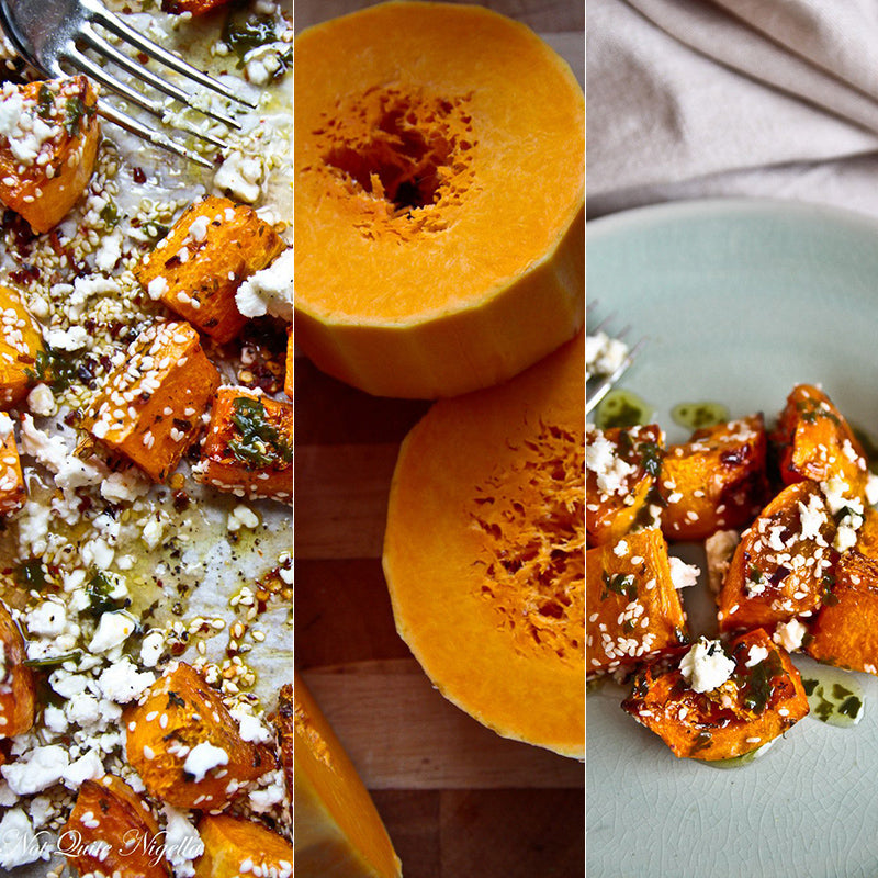 roasted butternut pumpkin with honey and fetta cheese