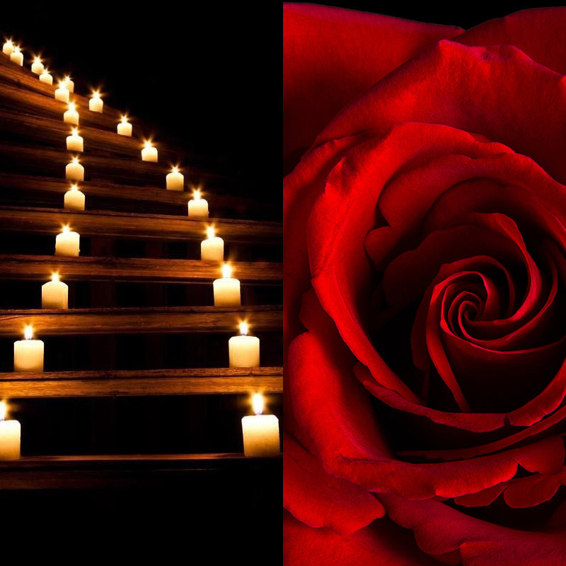 candles winding up stairs, rose flowers