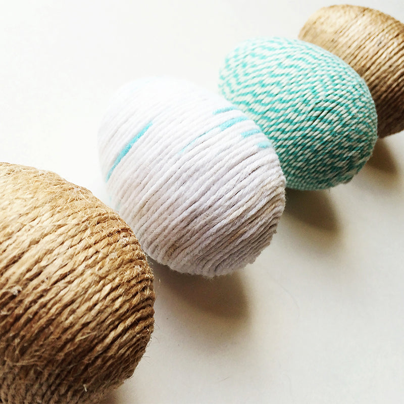string twine wrapped easter eggs