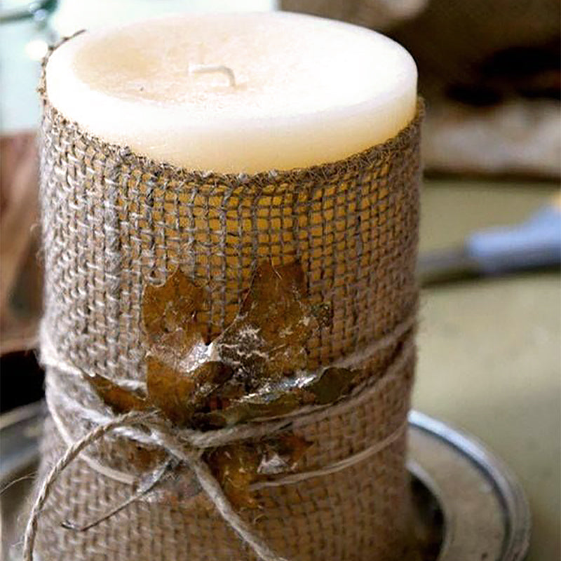 candle leaves burlap twine do it yourself