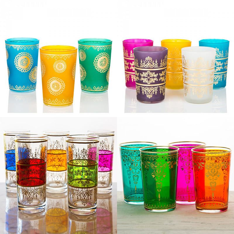 colorful moroccan tea glasses frosted