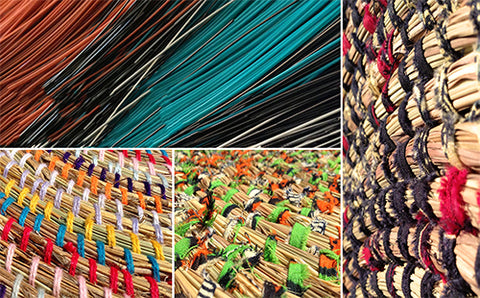 African woven baskets close up texture
