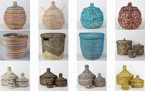 African woven baskets different sizes and colors
