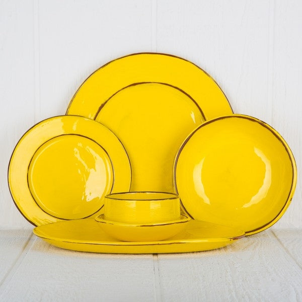 yellow dishware