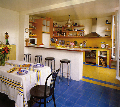 kitchen cement tiles blue yellow