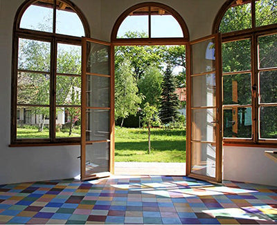 cement tiles french doors colorful