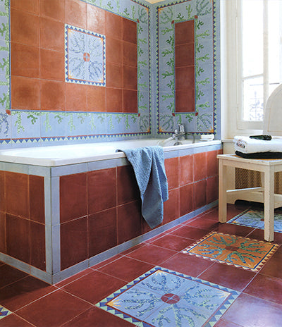 bathroom cememnt tiles red orange