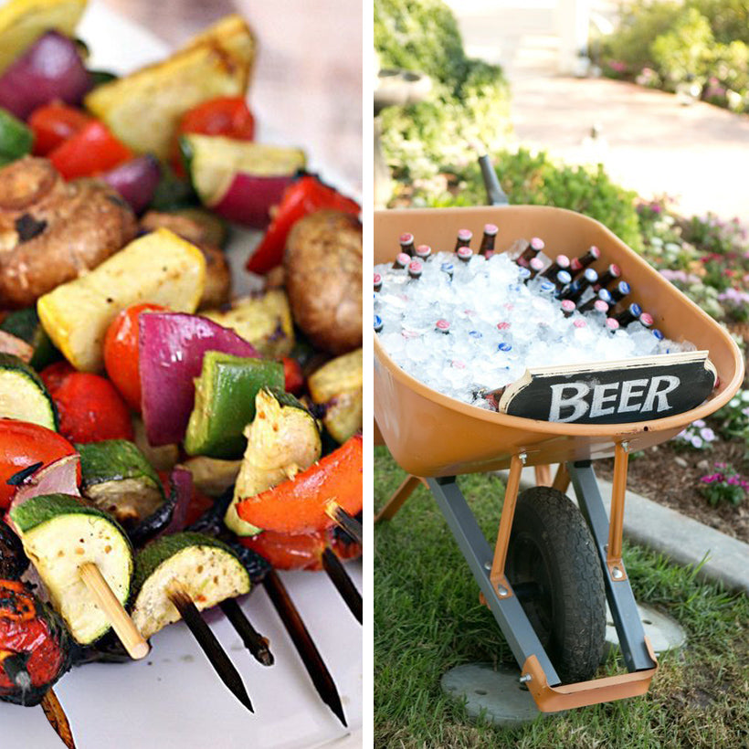 outdoor grilling vegetable kebobs wheelbarrow beer ice cooler