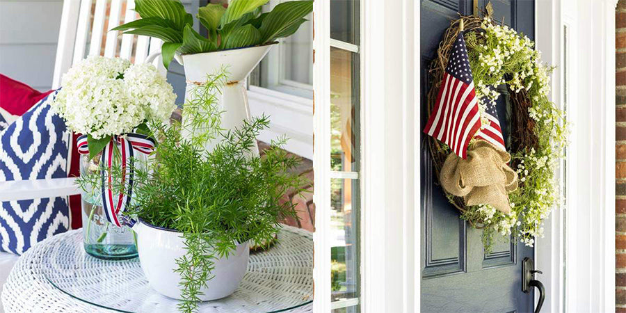 american flag wreath front door american ribbons tied to vases