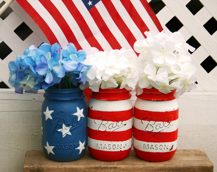 mason jars painted red white and blue flag