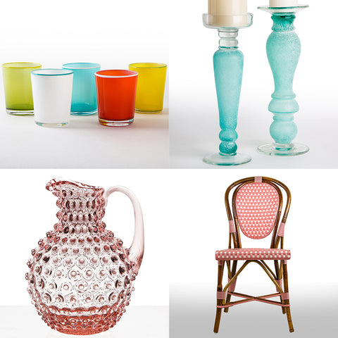 pink and turquoise diningwares