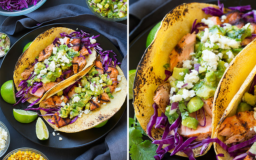 grilled salmon street tacos with french linen