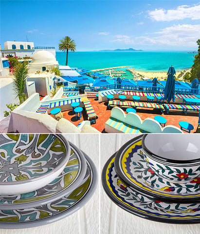 tunisia dishware and landscape
