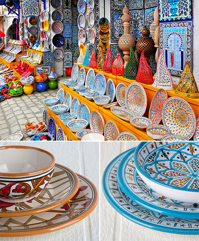 tunisian dishware collage