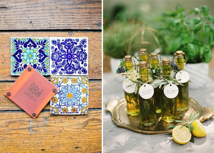 coaster and olive oil wedding favors