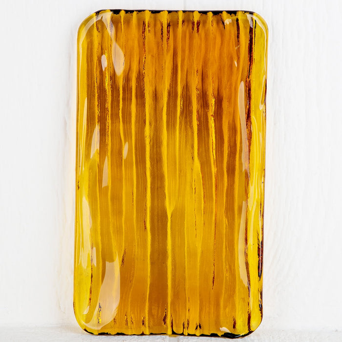 Amber Orange Glass Tray