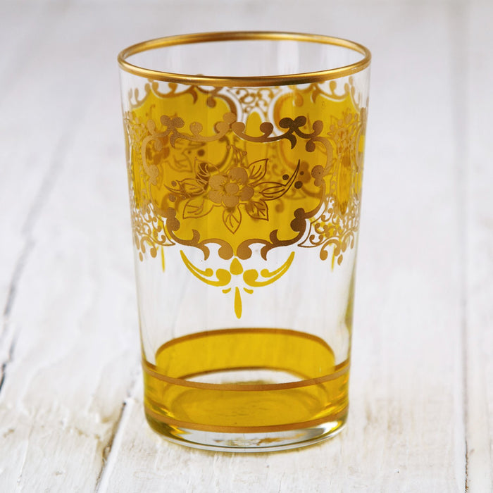 Amber Yellow and Gold Ornate Moroccan Tea Glass