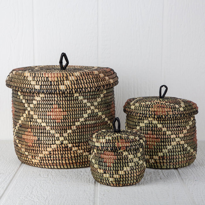 "Argyle African Basket With Lid (7""h)"