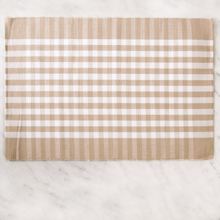 "Beige Italian Checkered 100% Cotton Placemat (19"" x 13"")"