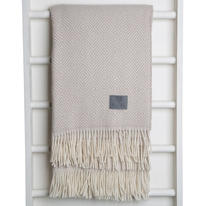 Beige Lamb Wool Throw Blanket