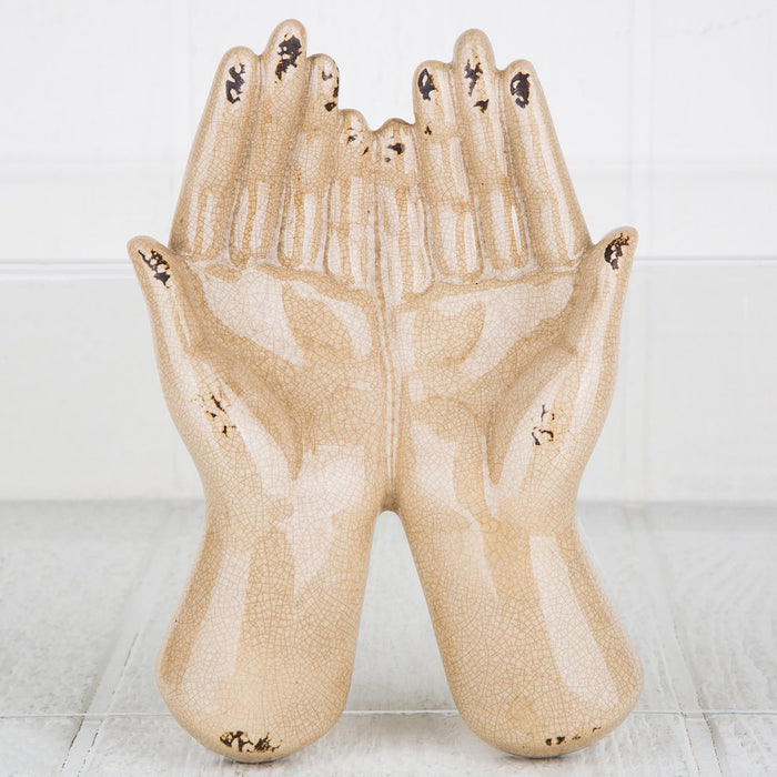 Beige Offering Hands Figurine