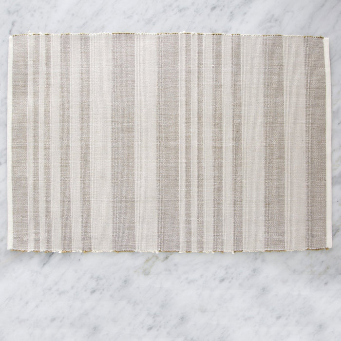 "Beige Striped 100% Cotton Placemat (19"" x 13"")"