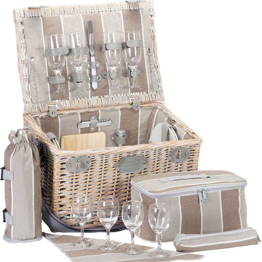 Beige Striped Wicker Picnic Basket (4 person)