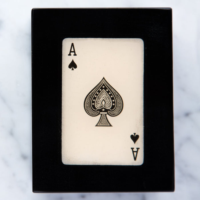 Black Ace of Spades Card Box with Three French Decks / Compartments