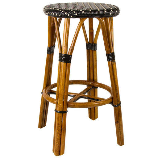 "Black & Cream Bar Height Mediterranean Bistro Bar Stool (29"" h)"