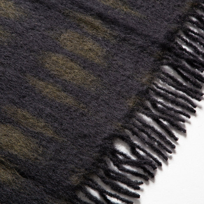 Black and Green Mohair Throw Blanket