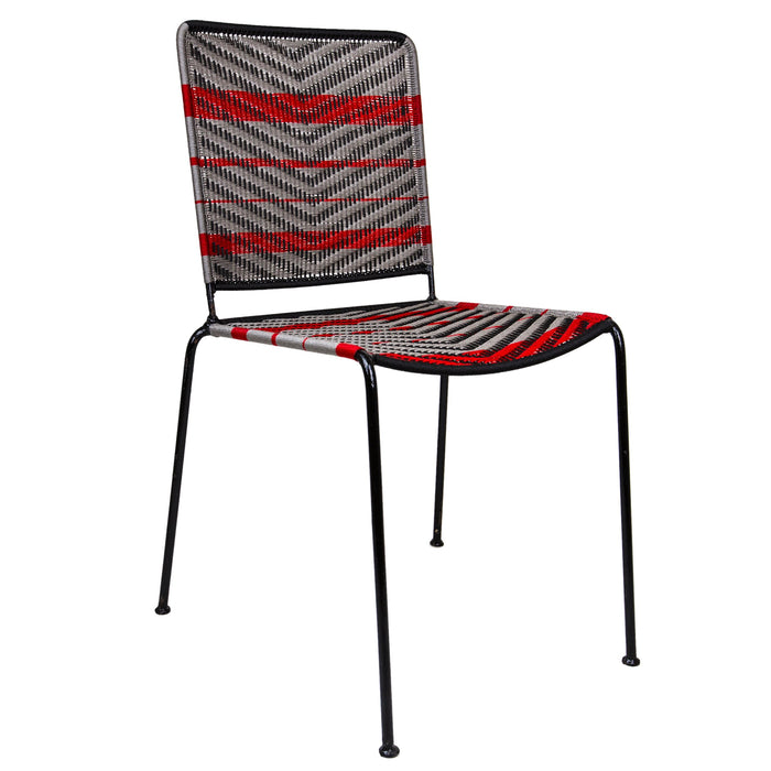 Black & Silver Woven Artisan Metal Chair