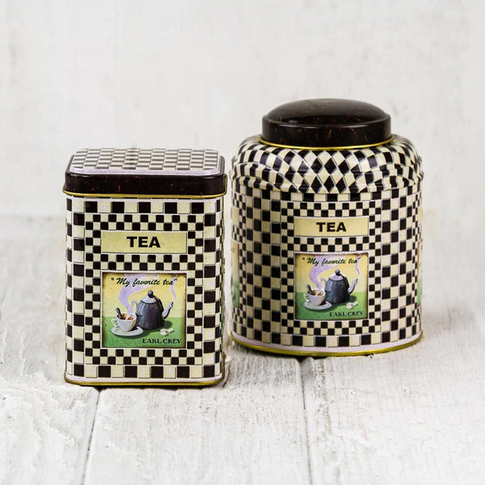 Black & White Checkered Round Metal Tea Tin