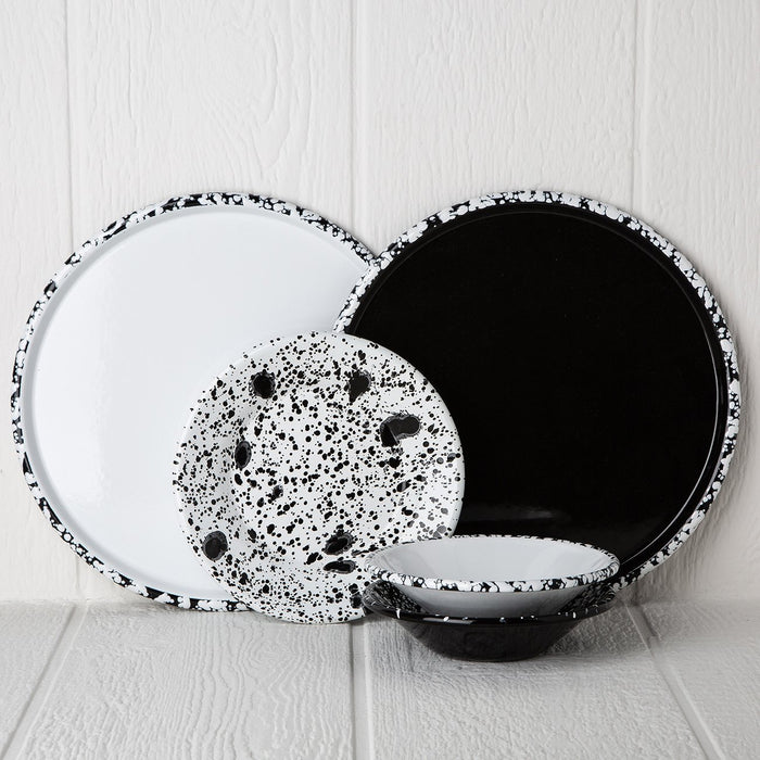 Black And White Enamelware Dinnerware