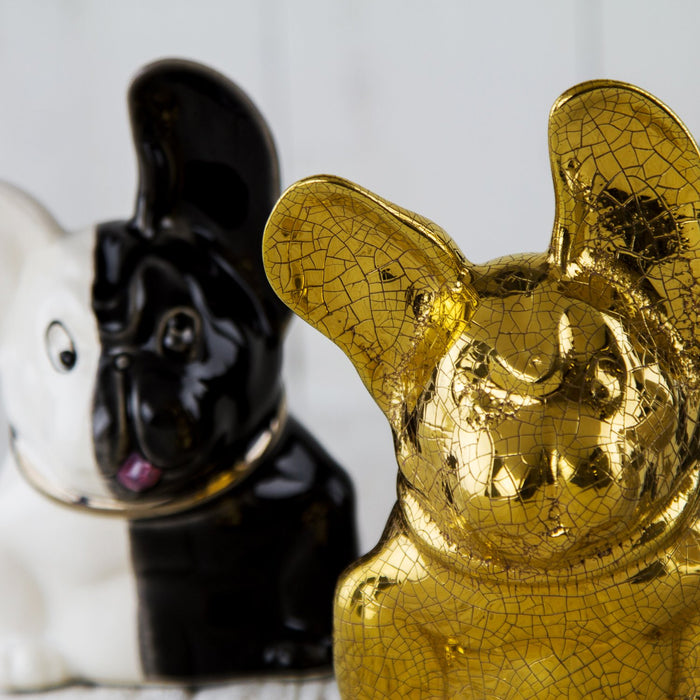 Black and White French Bulldog Figurine