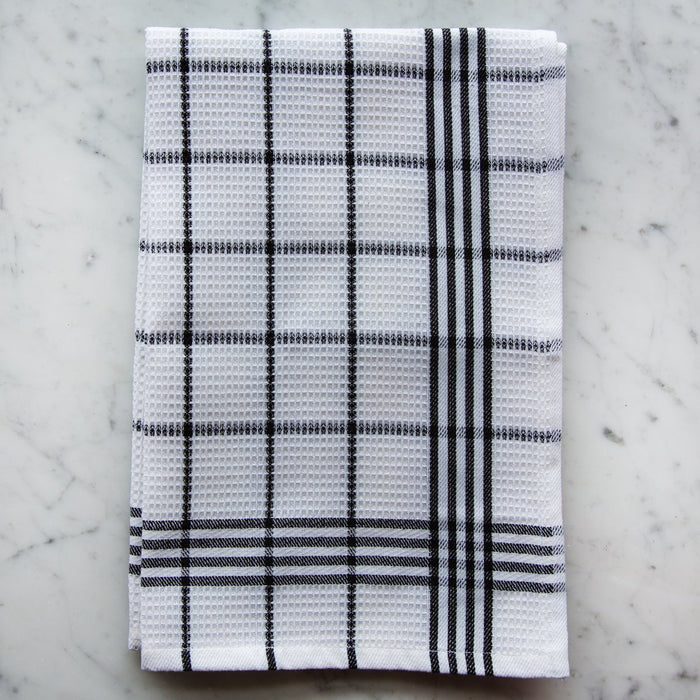 Black & White Honeycomb 100% Cotton Pique Kitchen Towel