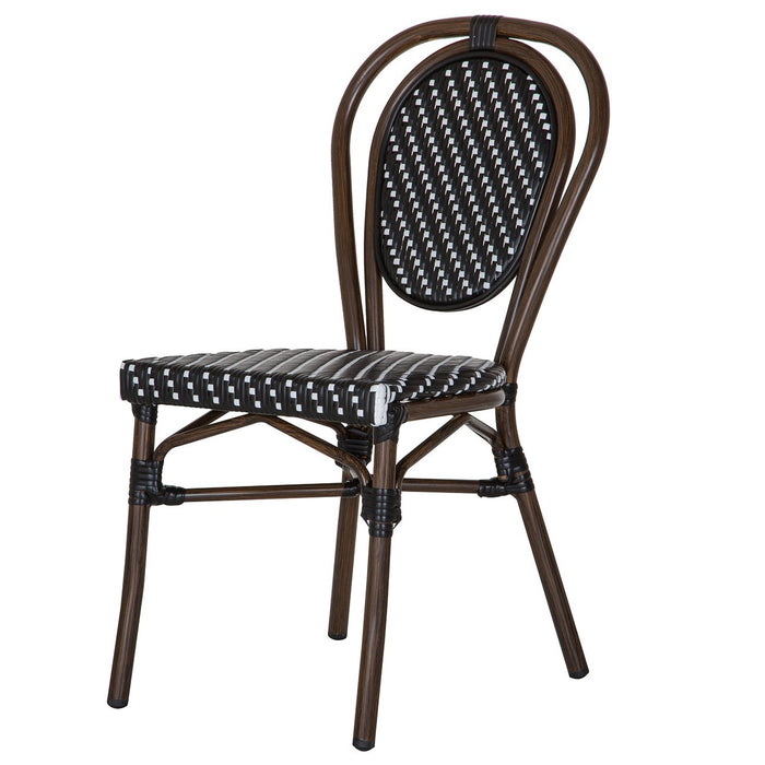Black and White Metal Mediterranean Bistro Chair (H)