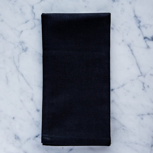 "Black / Caviar Cotton Single Stitch Napkin (17"")"
