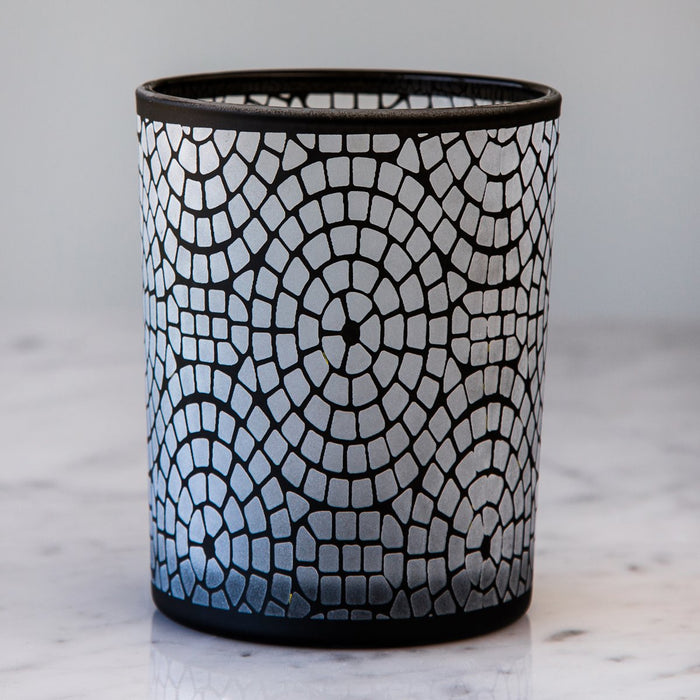 "Black Frosted Glass Geometric Hurricane (5"" h)"