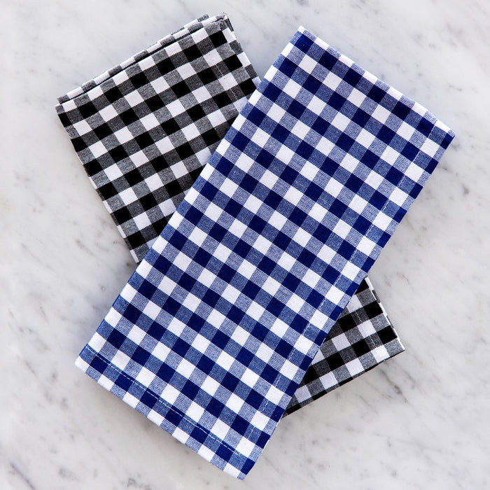 "Black Gingham Checker 100% Cotton Single Stitch Napkin (18"")"