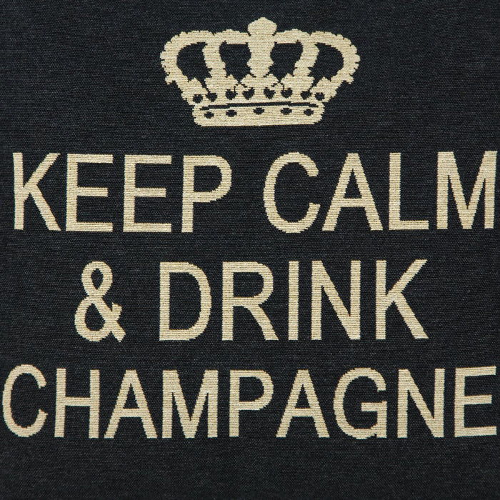 "Black Keep Calm & Drink Champagne Decorative Pillow (18"" x 18"")"