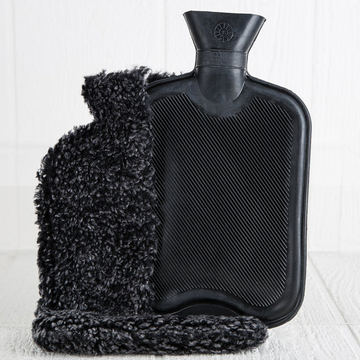 Black Sheepskin Hot Water Bottle